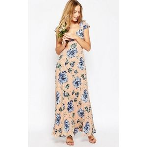ASOS Floral Pleated Maxi Dress